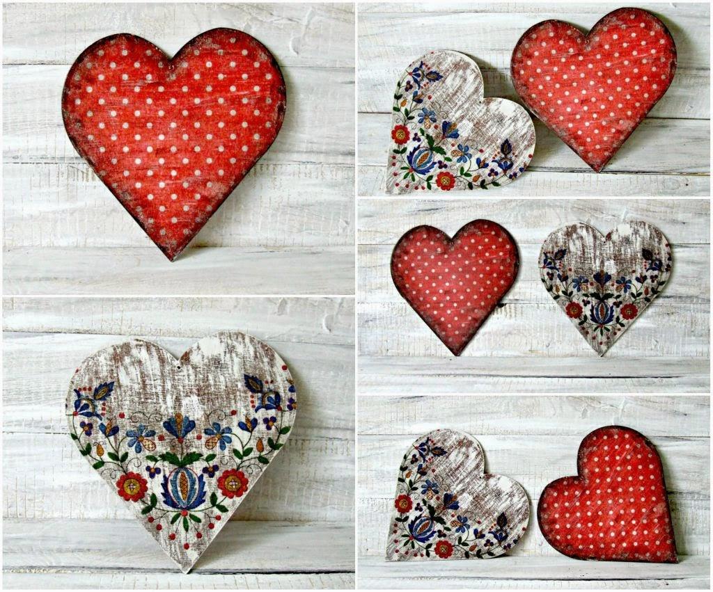 Serducha decoupage - wersja rustykalna i vintage. Dekoracja handmade.