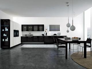 modern kitchen interior design in black and white