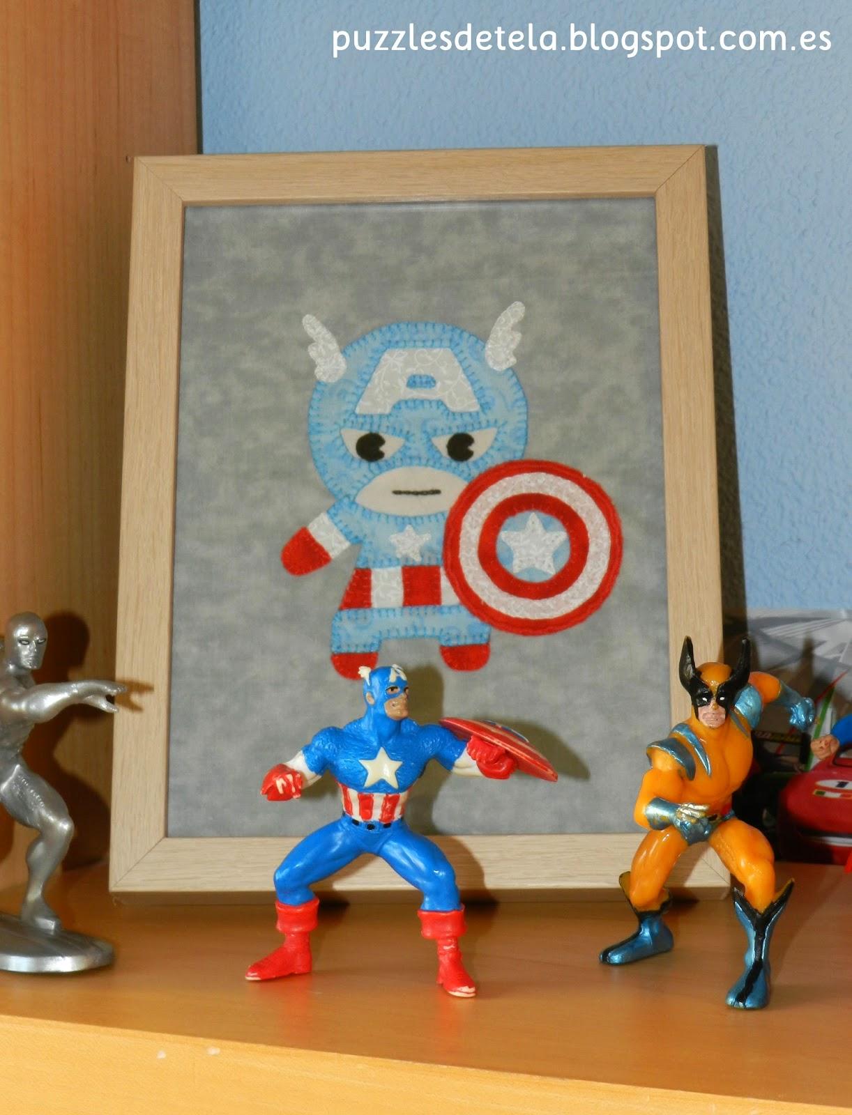 Puzzles de tela, Capitán América, Capitán América patchwork, decoración habitación infantil, cuadros de patchwork, superhéroes