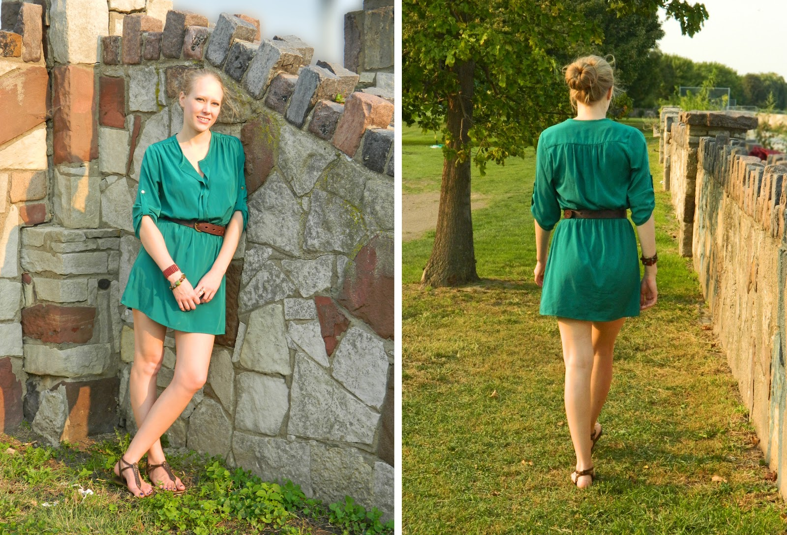 caravan of style: green shirt dress