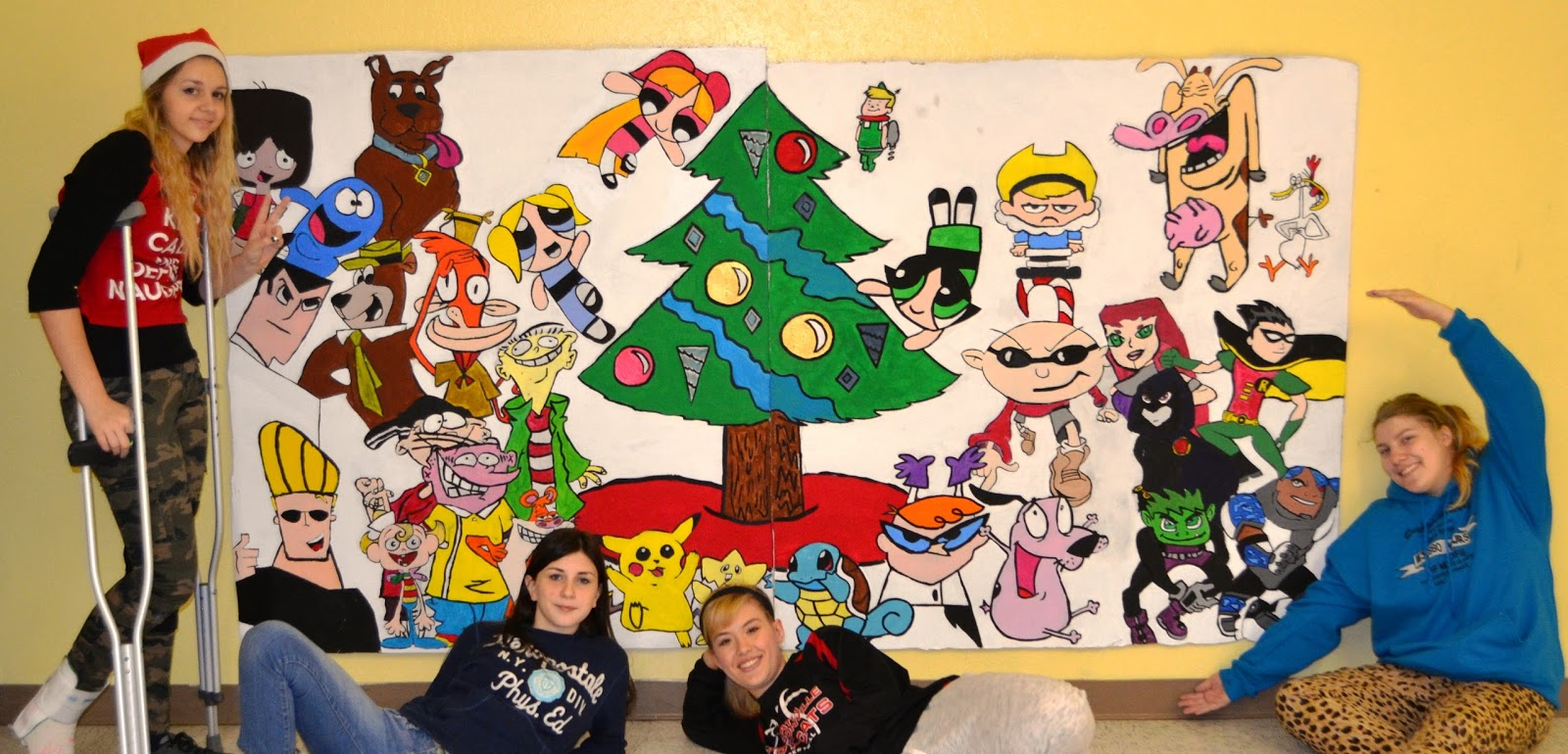 High school art community center holiday mural lessons for Christmas mural