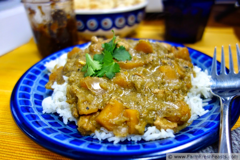 Slow Cooker Green Tomato Curry with Buttercup Squash and Chicken | Farm Fresh Feasts