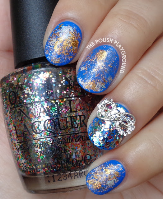 Blue with Silver and Bronze Nail Foil Nail Art