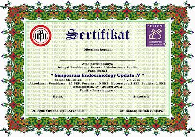 Contoh sertifikat: