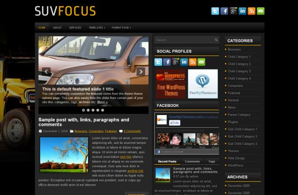 Free Dark Black Cars Magazine Wordpress Theme