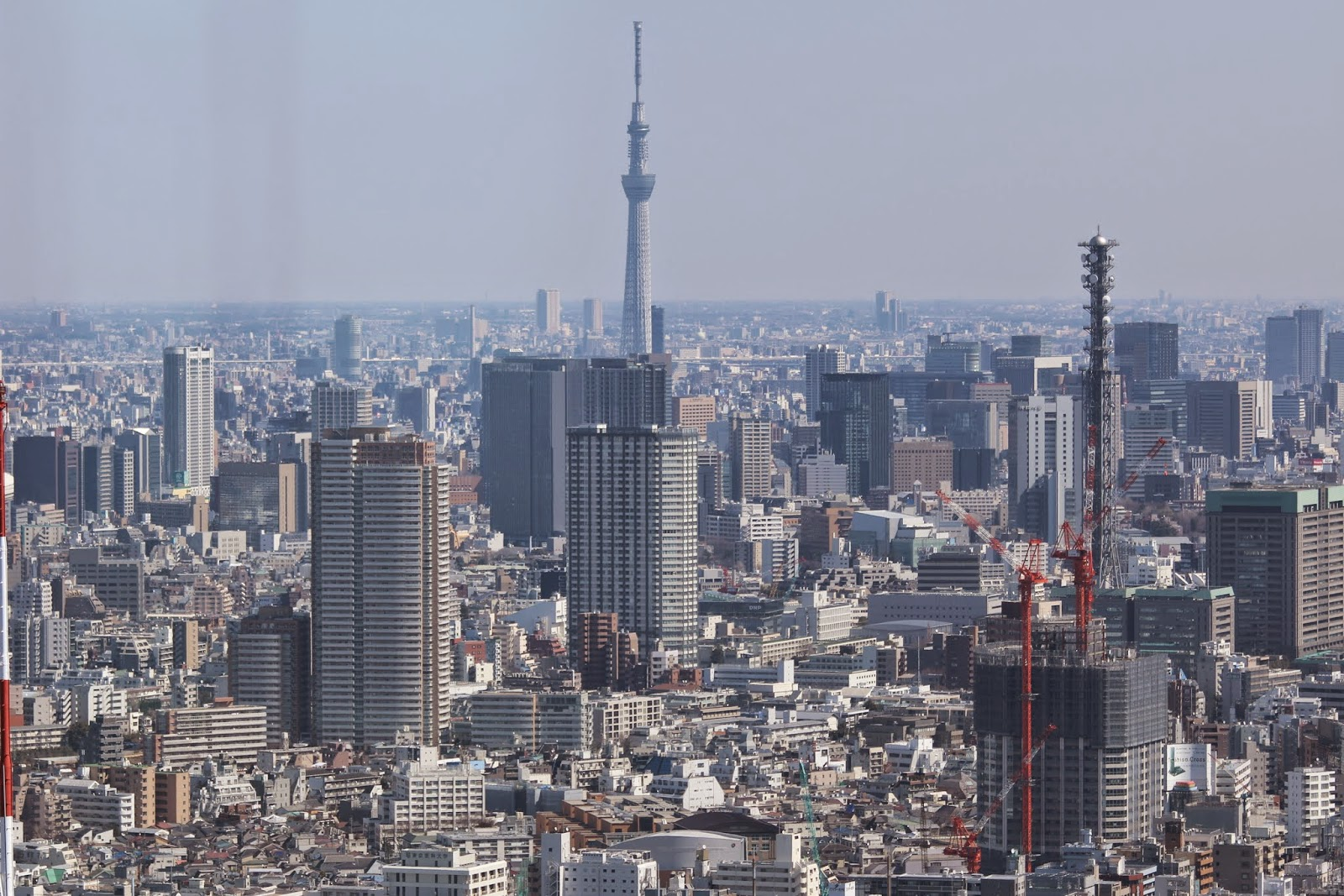 Tokyo Skytree tower can be seen from the observation deck of Tokyo Metropolitan Government Building at Shinjuku Business District of Tokyo, Japan