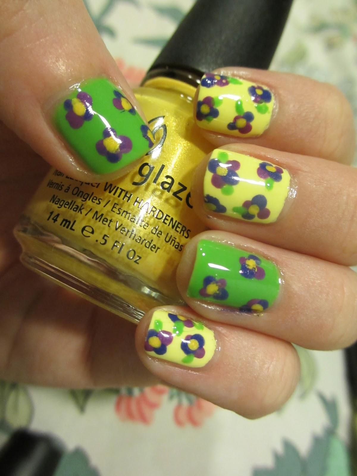 china glaze lemon fizz nail art