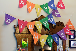 Rainbow colored birthday banner