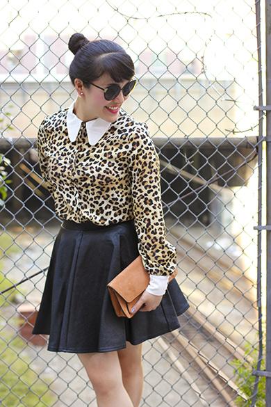 Leather skirt with Fendi sunglasses