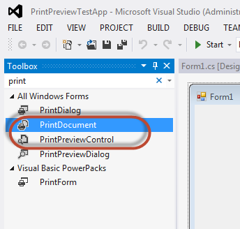 In The Toolbox Search For Print PrintDocument And PrintPreviewControl Will Be Displayed