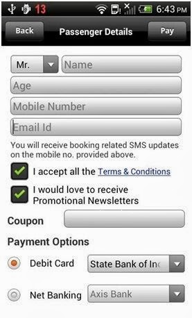 mybustickets.in app screenshot of passenger details and payment page