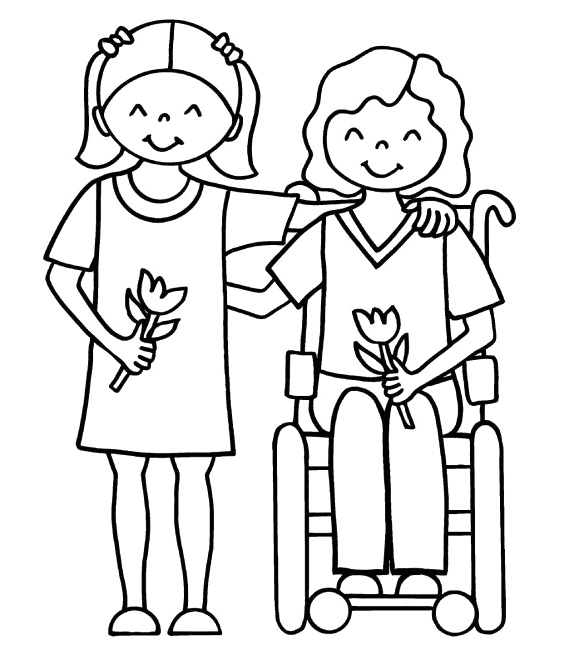 people with disabilities coloring for toddlers - Coloring Pages Of People