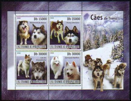 2008年サントメ・プリンシペ民主共和国 アラスカン・マラミュート シベリアン・ハスキー グリーンランド・ドッグ サモエドの切手シート