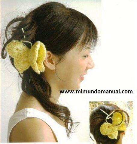 Mariposas para el pelo tejidas a crochet