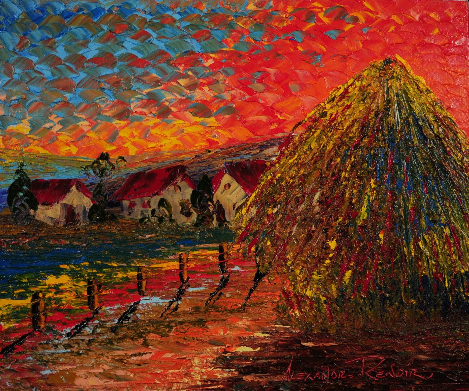 Alexandre Renoir Sunrise Haystack