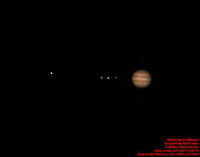 Jupiter y las lunas de Galileo - El cielo de Rasal