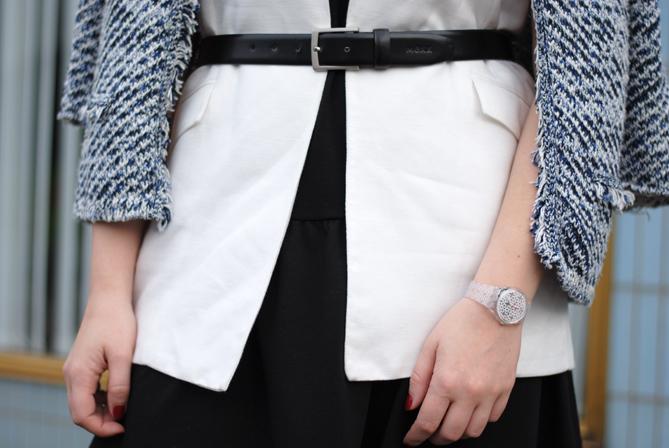 Outfit Layering black dress white long vest jacket