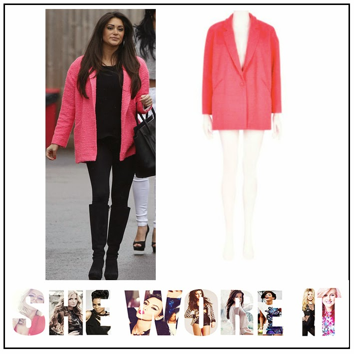 Big Brother, Casey Batchelor, River Island, Neon Pink, Boucle, Oversized, Blazer, Coat, Button Detail, Sloping Shoulder Detail
