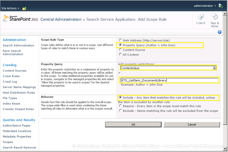 sharepoint 2010 documents search scope