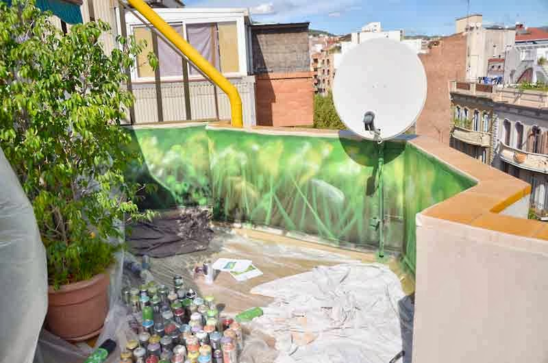 Berok graffiti mural profesional en barcelona decoraci n for Terraza plantas decoracion