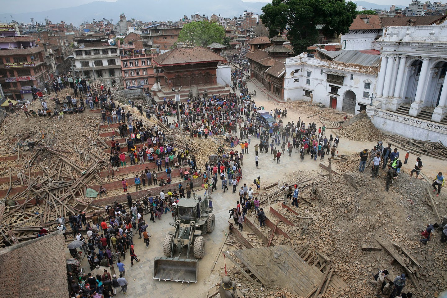 People search for survivors in Kathmandu Durbar Square