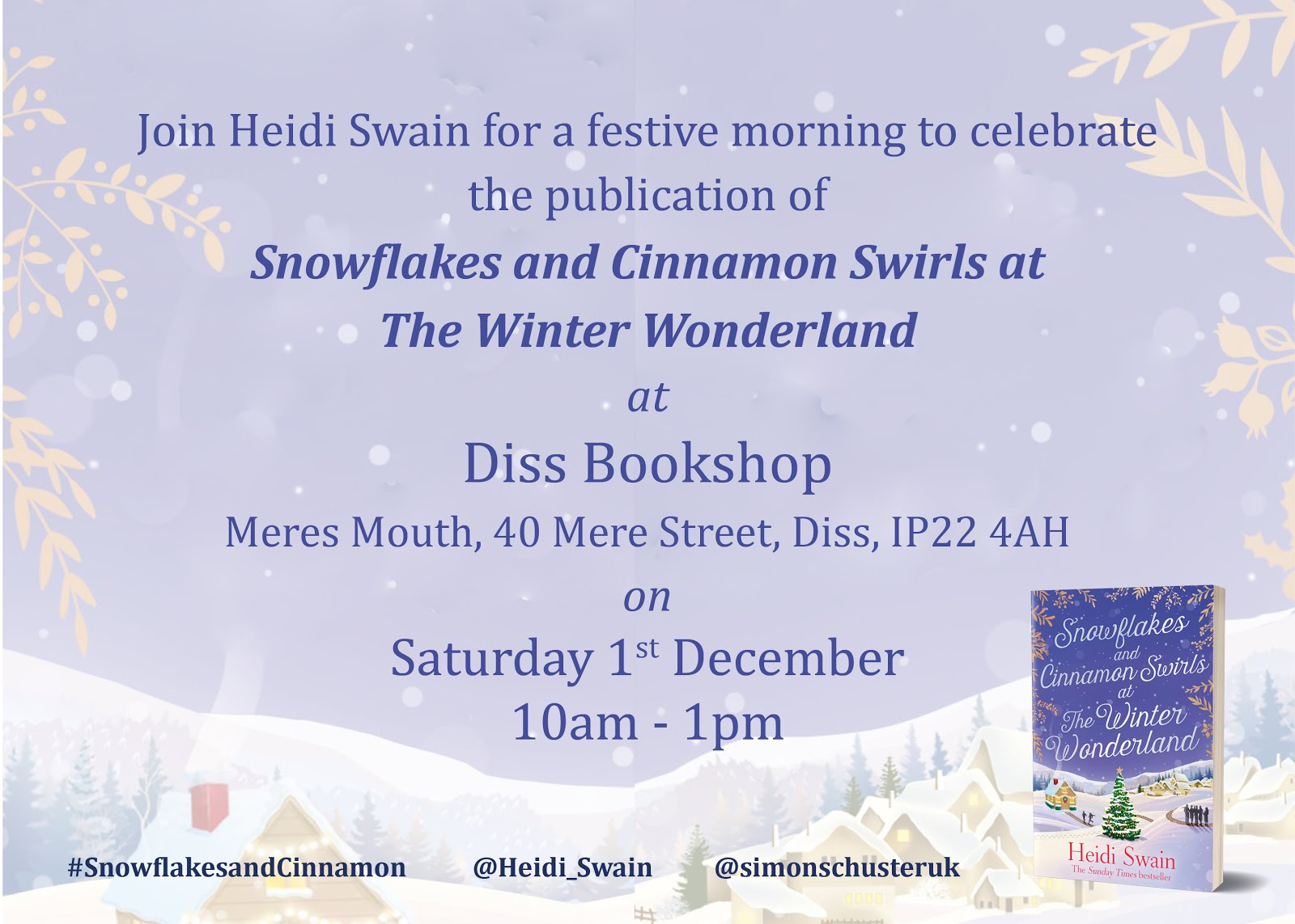 Snowflakes and Cinnamon Swirls signing at Diss Bookshop