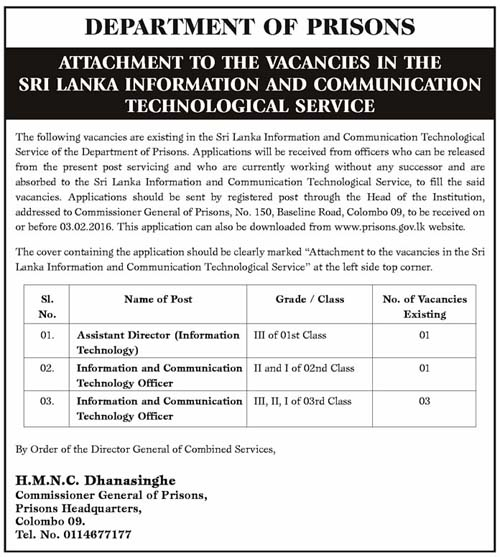 Vacancies at Department of Prisons