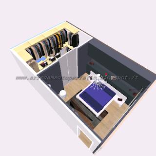 La cabina armadio e il vano contenitore in finta muratura nella camera da letto