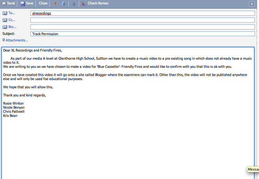 Track Permission Letter Email