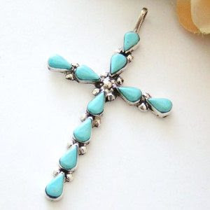 Native American Indian Zuni Sterling Silver Teardrop Turquoise Cross Jewelry by Arlene Dosedo