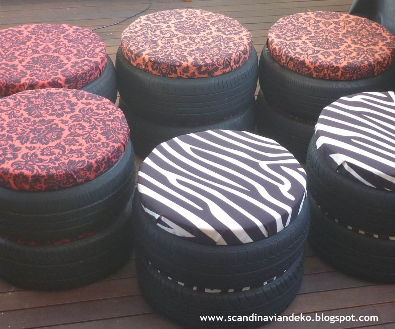 recycled tyre stools by scancan design pallet furniture