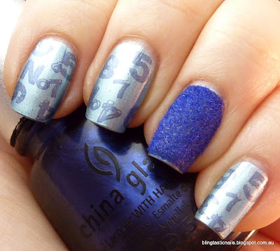 China Glaze Sci-Fly By with China Glaze Strap on Your Moon boots and flocking