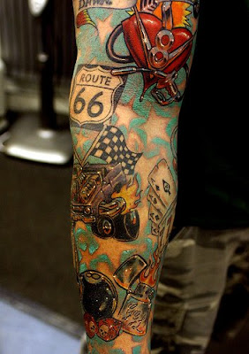 Route 66 Motor Truck Car Tattoo