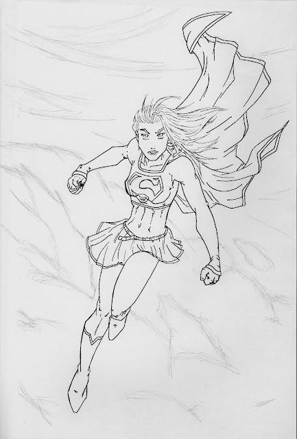 Dessin crayonné et encré de Super Girl la cousine de Superman.