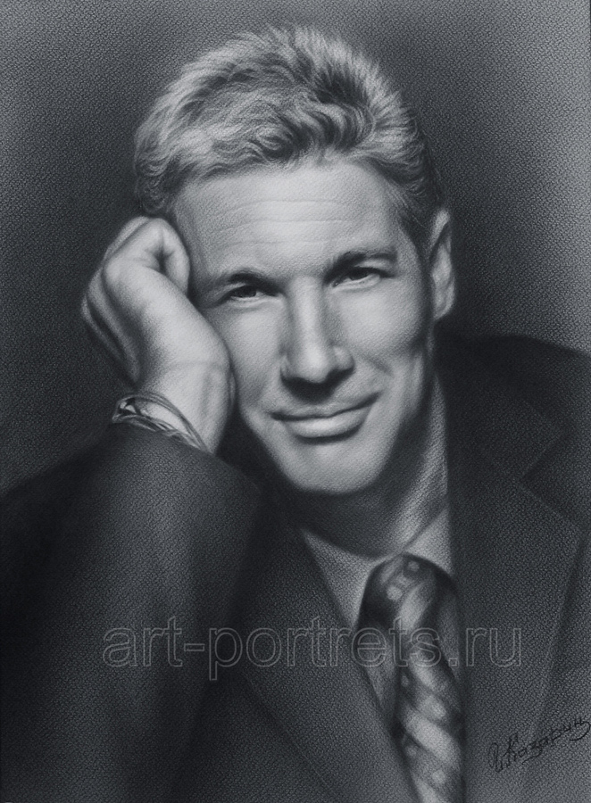 15-Richard-Gere-Igor-Kazarin-Painting-and-Drawing-Portraits-with-Dry-Brush-www-designstack-co