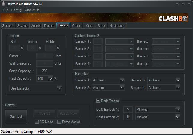 Troops Setting Clashbot V6.3.0