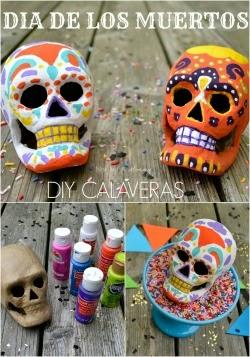 Turn papier-mâché skulls into calveras