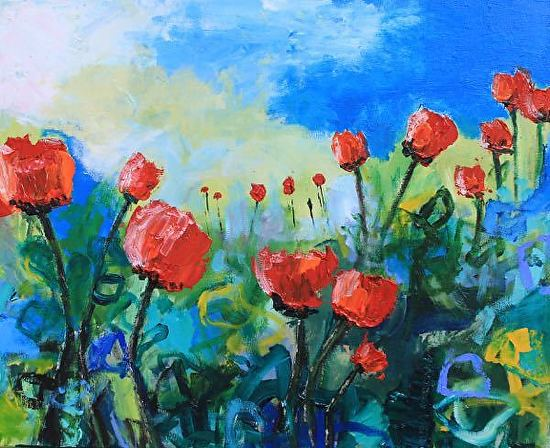 Daily painters abstract gallery contemporary abstract for Abstract art flowers paintings
