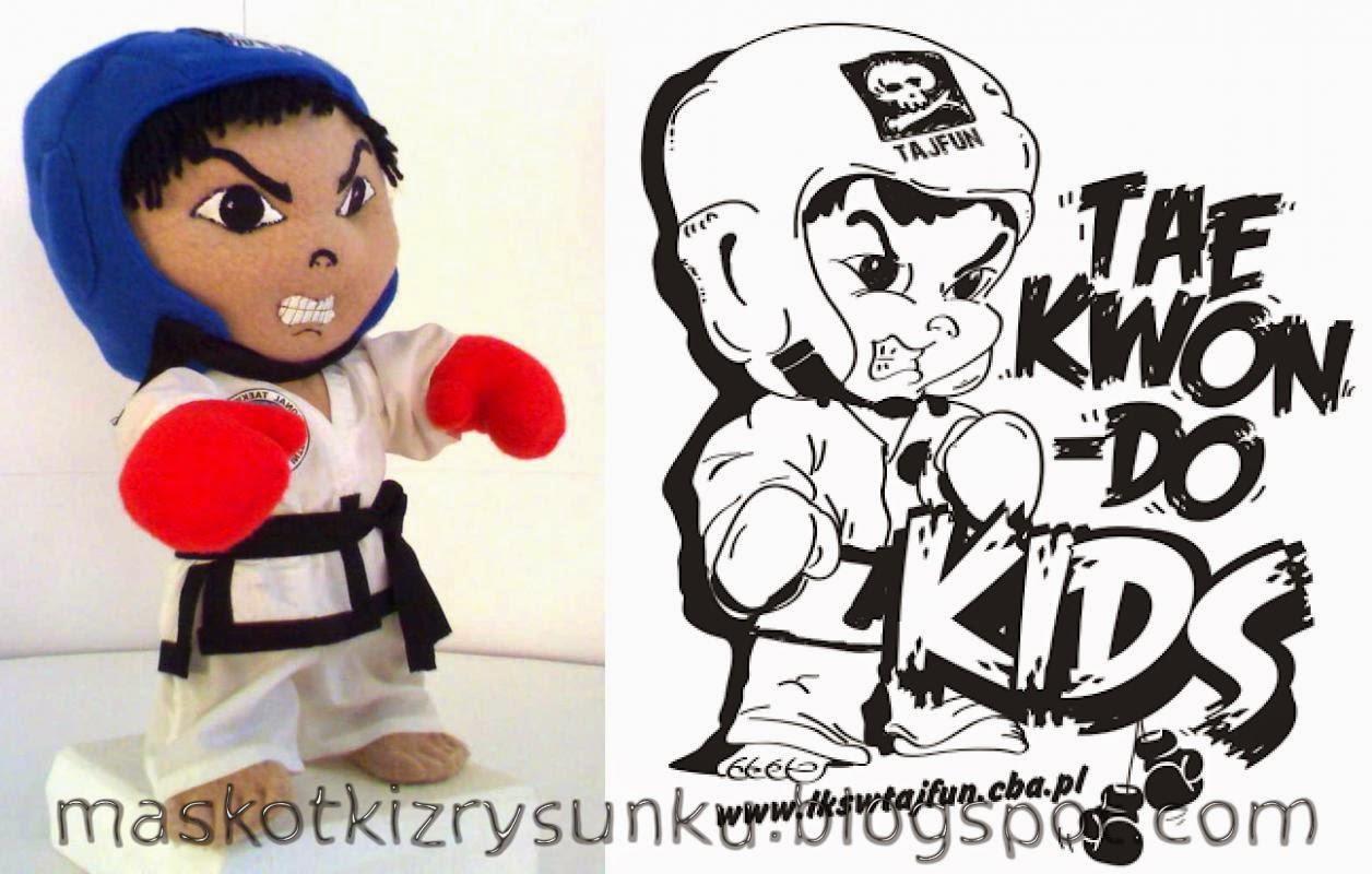 ludzik taekwondo, rysowane pluszaki