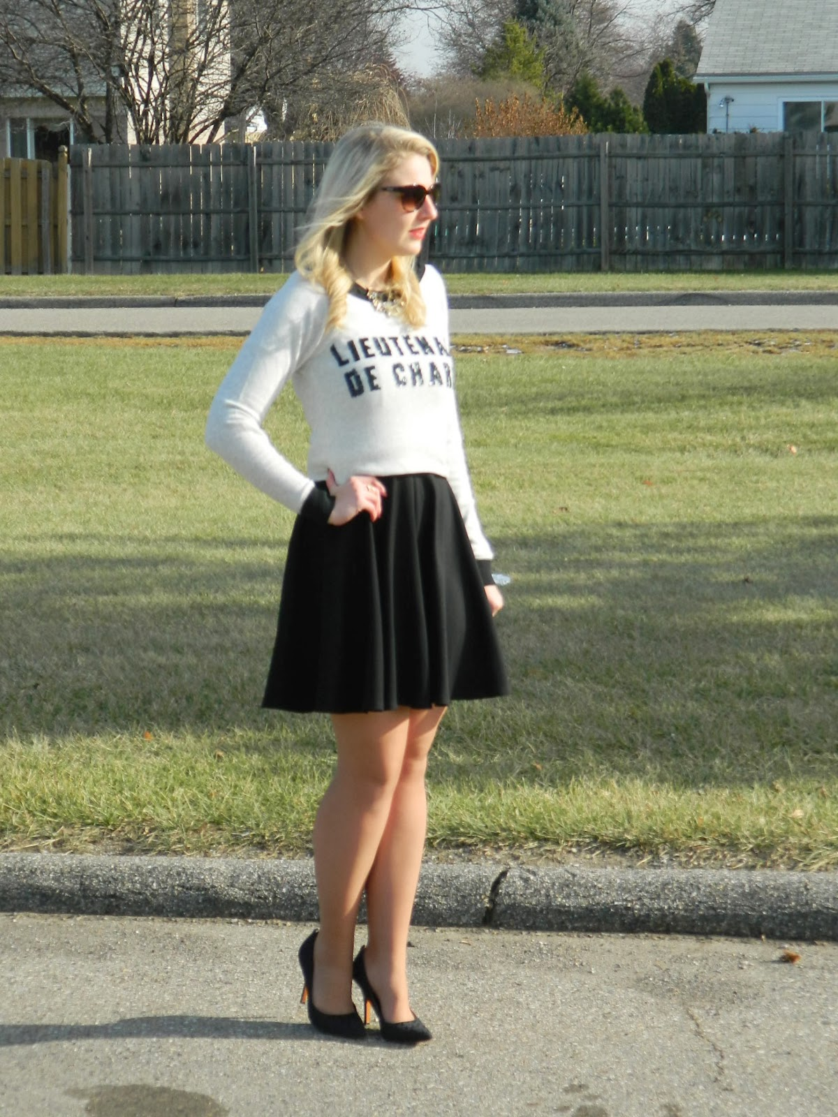 little black dress reused, sweater and dress, coach pumps, lulus dress, coach pumps, express dress, crop sweater