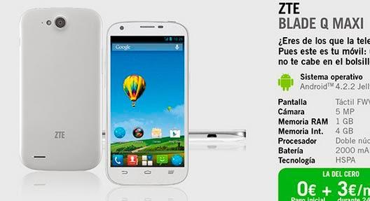ZTE Blade Q Maxi YOIGO: precios y características principales