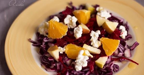 La cocina de aisha ensalada de col lombarda y fruta con for Cocinar col lombarda