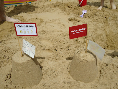 Business Card Flags in Sandcastles