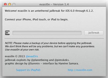 Konek iPhone, iPad atau iPod touch anda maka eVasi0n akan langsung ...
