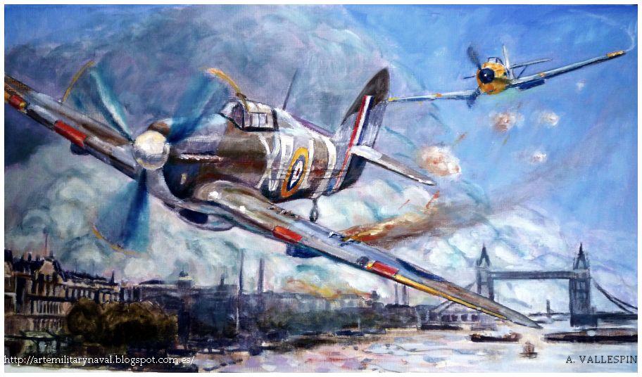 pintura - de hans-Joahim Marseille derriba un Hawker Hurricane Batalla de Inglaterra - Estado actuarl