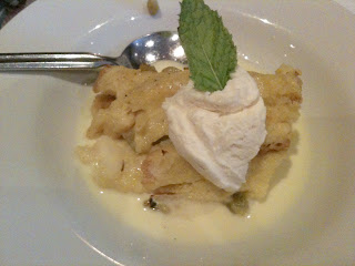 Todd Jurich's Bistro dish: Brioche Bread Pudding with Whiskey Custard and Creme Anglaise