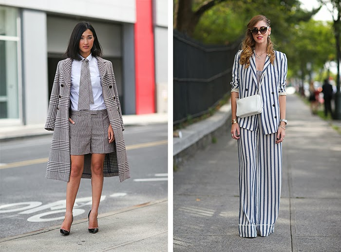 street style fashion week spring 2014, stripes, suit, prints