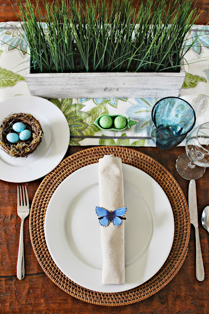 pretty spring table with diy napkin rings