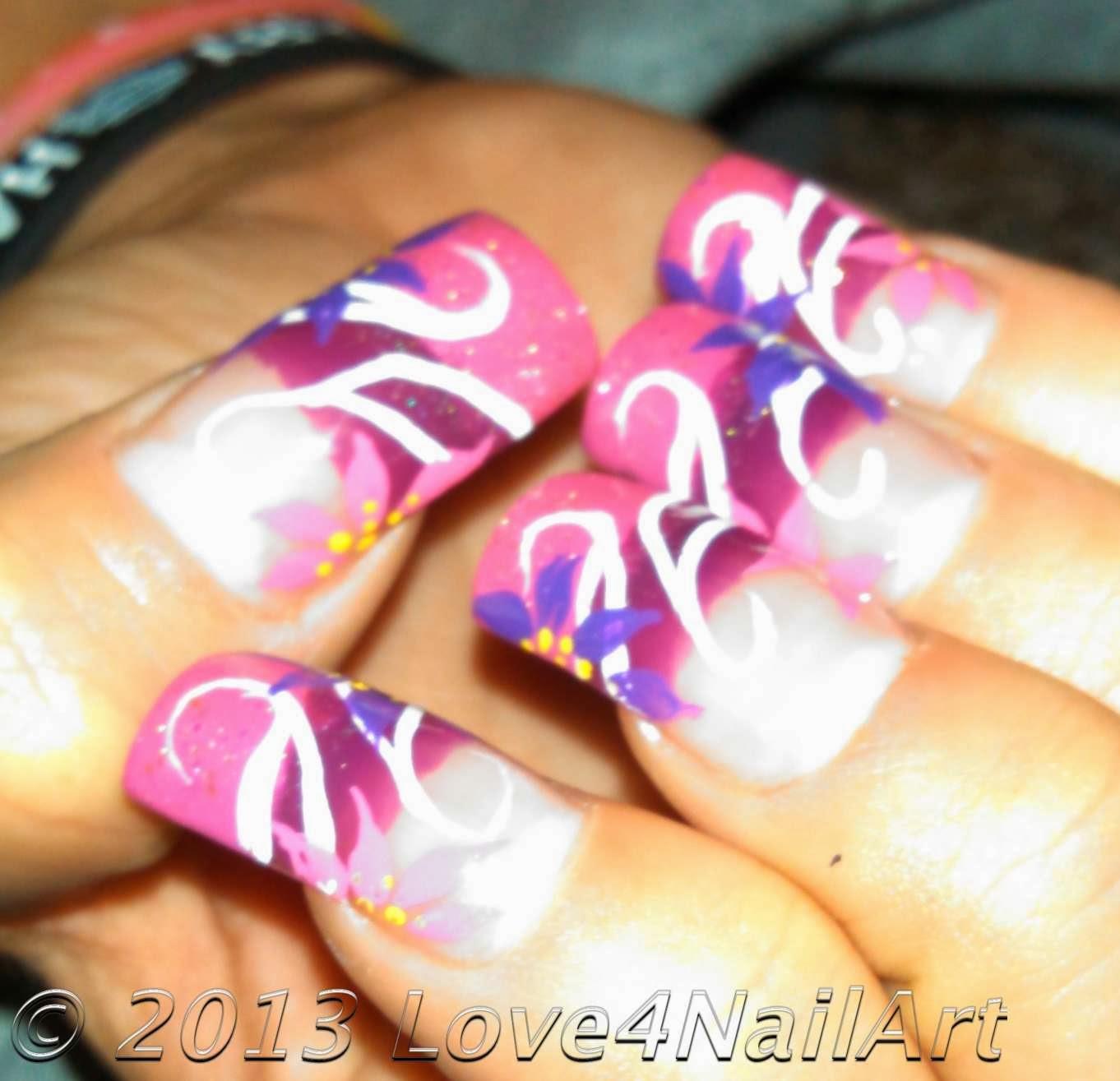 Girly Nail Art: Love4NailArt: Groovy Girly Flower Nail Art Design