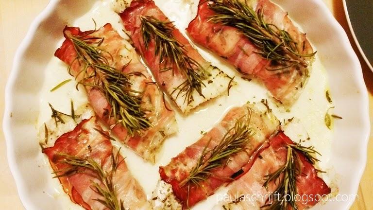Kabeljauw Gewikkeld in Gerookte Ham uit de Oven